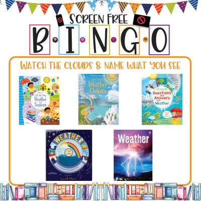 Book/Activity Pairings: Watch the Clouds & Name What You See || Screen-Free BINGO