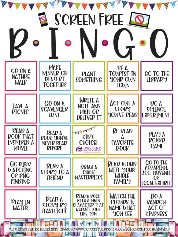 Screen-Free Week Bingo Board
